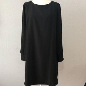 J. Crew Black Long Sleeve Shift Dress Size 12